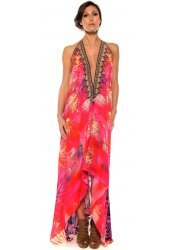 Red Amazonia Palm Silk Crepe Dress With 3 Ways To Style