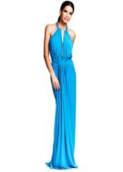 Gold Chain Turquoise Ruched Evening Gown