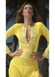 Kim Hand Painted Yellow & Gold Short Kaftan