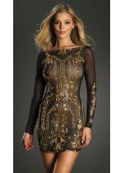 Sveta Black & Gold Hand Painted Bodycon Dress