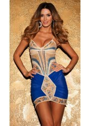 Z164 Royal Blue Hand Painted Party Dress