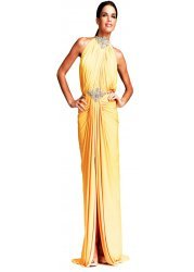 Yellow Evening Dress With Halter Neck & Crystals