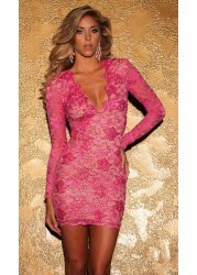 Eli Pink Painted Lace Party Dress