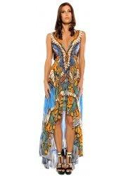 Metamorphosis Blue Crepe Silk Hi Low Dress