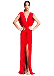 Red Evening Dress With High Spilt & Draped Knot Front