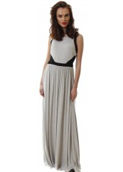 Long Grey Sleeveless Maxi Dress With Mesh Black Insert Sides