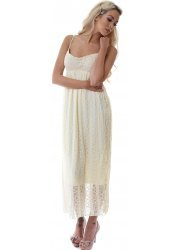Cream Cotton Lace & Crochet Summer Maxi Dress