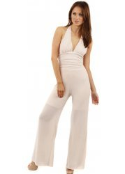 Nude Pink Lurex Glitter Detail Open Back Jumpsuit