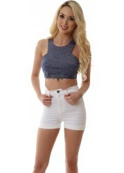 Galore Stretch Fit White High Waisted Shorts