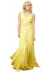 Brilliance Yellow Chiffon Draped Low Back Evening Dress