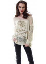 Cream Lurex Crochet Gold Studded Skull & Crossbones Jumper