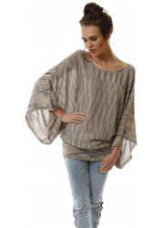Purple Multicolour Fine Knit Slouch Batwing Jumper