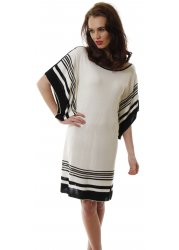 Black & Ivory Stripe Knitted Tunic Dress With Slouch Batwing Sleeves