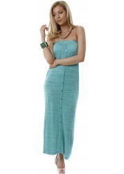 Turquoise & Gold Sparkle Button Front Tube Maxi Dress