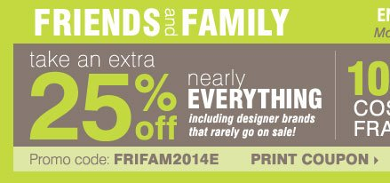 Bergners: Friends & Family ends soon! 25% off nearly ...
