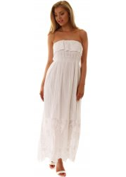 White Embroidered Cotton Frilled Strapless Maxi Dress