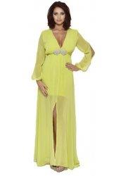 Amy Childs Jocelyn Long Sleeved Lime Maxi Dress