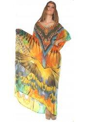 Amazonia Macaw Silk Crepe Kaftan Maxi Dress