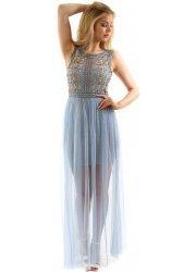 Powder Blue Floral Beaded Sleeveless Mesh Maxi Dress