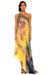 Yellow Palm Print Column Dress With 3 Ways To Style