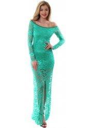Off The Shoulder Emerald Green Lace Maxi Dress
