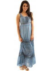 Denim Blue Crochet Tiered Silky Summer Maxi Dress