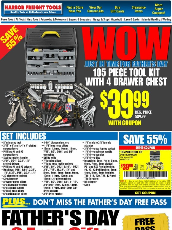 Harbor Freight: WOW   105 Piece Tool Kit $39 99   Great Idea for Dad