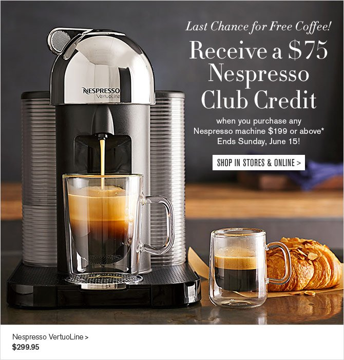 williams sonoma 3 more days 75 of free coffee with nespresso purchase milled. Black Bedroom Furniture Sets. Home Design Ideas