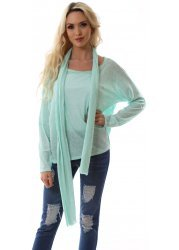 Mint Green Melange Cotton Long Sleeve Top With Scarf