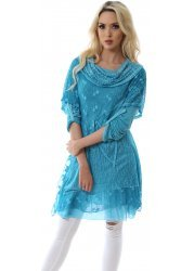 Turquoise Hearts & Lace Cowl Neck Tunic Dress