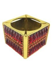 Red Crystal Jewelled Gold Cube Elasticated Bracelet