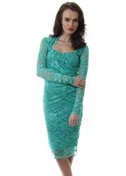 Green Long Sleeved Scalloped Lace Pencil Dress