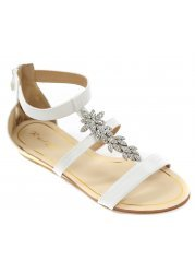 White Strappy Sandals With Silver Crystal Flowers