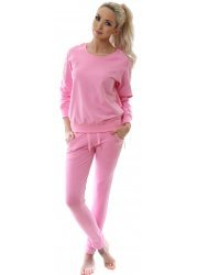 Candy Pink Stretch Fit Tracksuit With Gold Beads & Sequins