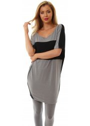 Oversized Grey Libby Black Contrast Slouch Top