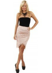 Nude Pink Lace Asymmetric Wrap Front Skirt