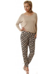 Chillings Caramel Checkie Print Loose Fit Harem Pants