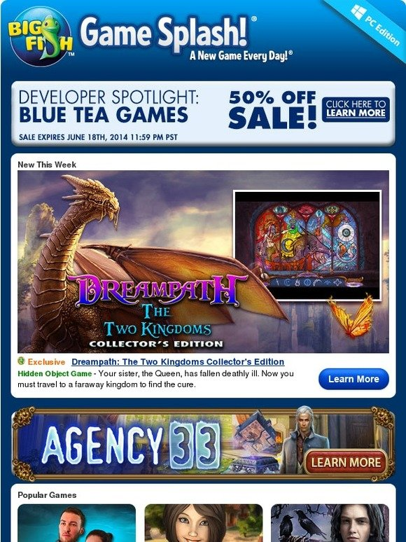 Big Fish Games 50 Off All Blue Tea Games Milled