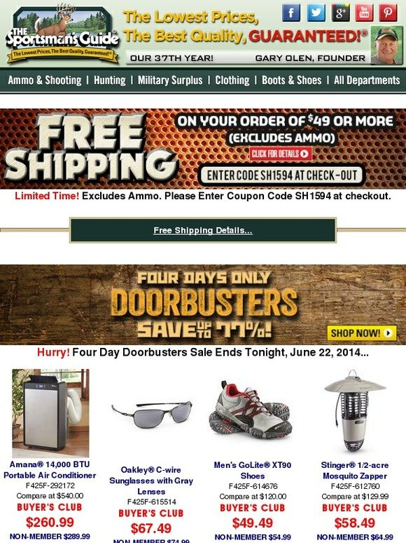 f106bc2fe68 The Sportsman s Guide  Final Hours - Four Day Doorbusters End Today!...  Plus Get Free Shipping