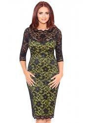 Georgia Black & Lime Lace Pencil Dress