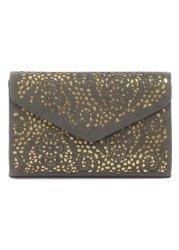 Grey & Gold Laser Cut Large Envelope Clutch Bag