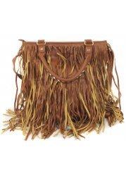 Long Tassels Faux Leather Tan Tote Bag