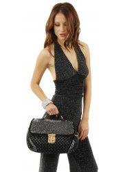 Black Crystal Studded Plaited Leather Tote Bag