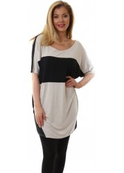 Oversized Tinted White Libby Black Contrast Slouch Top
