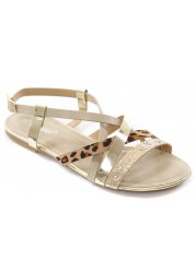Gold Glitter & Leopard Strappy Flat Sandals