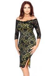 Grace Black Lace & Yellow Contrast Dress
