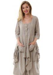 Beige Linen Crochet Lace Detail Long Oversized Shirt Top