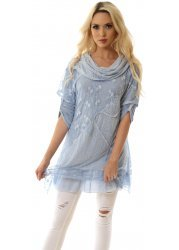Baby Blue Hearts & Lace Cowl Neck Tunic Dress