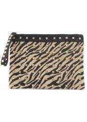 Tiger Print Ponyskin & Gold Stud Black Clutch Bag