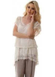 Soft Beige Crochet & Lace Two Piece Tunic Top